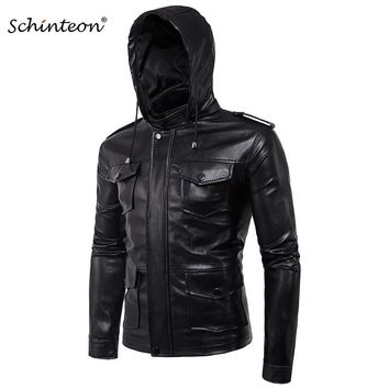 Men Soft PU Leather Jacket with Leather Hood Black Mutil Pockets Plus Size Motorcycle Jacket Male Brand Clothing