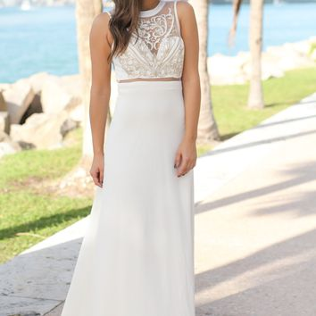Cream and Gold Embroidered Maxi Dress with Tulle Back