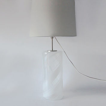 Vintage  XL Danish White Glass Table Lamp by Torben Jorgensen for Holmegaard