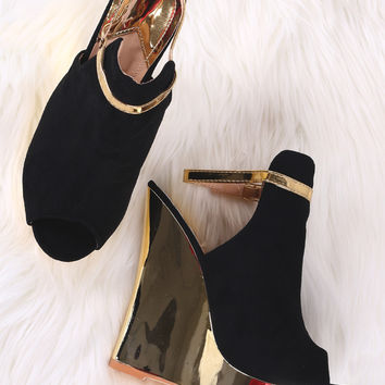 Peep Toe Ankle Strap Mirrored Wedge Heels | UrbanOG