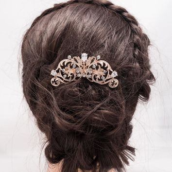 Fashion Vintage Style Light Rose Gold Tone Bridal Hair Comb Zircon Flower Hairpin Crystal Wedding Accessories FA5002RGCL