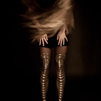 EXCLUSSIVE Hand Printed Tights - Goldfish, Gold on sheer black color, Flash Back collection