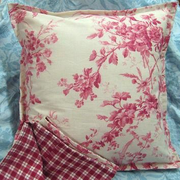 "RED TOILE on Ivory - Ralph Lauren Fabric - Pair (2) Custom Made Pillow Shams - 18"" x 1"