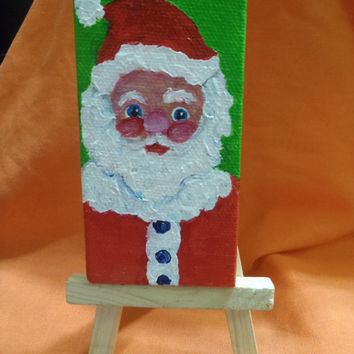 Santa Claus, little painting on Canvas with Easel, 2 x 4, Home decor