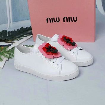 Prada Miu Miu White Sneakers With Red Flower - Best Deal Online