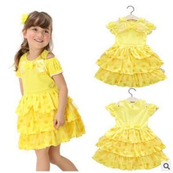 Toddler Girls  Belle Dresses Princess Costume Party Clothing Beauty and the Beast Yellow Dress Sleeveless Clothes a56