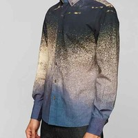 Vanishing Elephant Digital Print Wave Button-Down Shirt- Navy