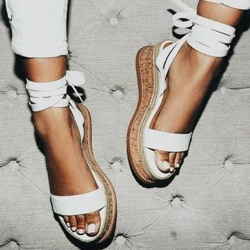 Summer White Wedge Open Toe Espadrilles Sandals