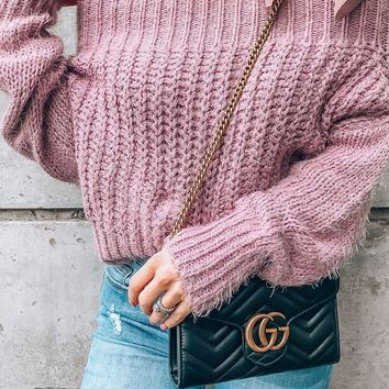 Bailey Lavender Off The Shoulder Knit Sweater