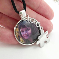 Autism necklace, autism jewelry, Autism mom photo necklace, real picture necklace, silver plated or gold, autism puzzle piece, autism gifts