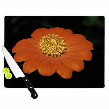 "Nick Nareshni ""Open Wide Red Flower"" Beige Red Cutting Board"