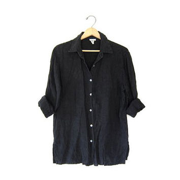 vintage linen shirt. button down shirt. black linen shirt. modern minimalist. womens button up shirt small medium