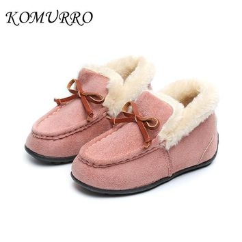 Kids Girl Winter Snow Shoes Warm Plush Children Cute Princess Slip-On Solid Shoes For Kid Girl Winter Outdoor Rubber Child Shoes