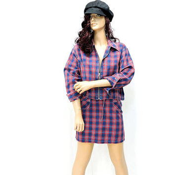 Denim plaid jacket / skirt / size M  7 / 8 petite / 80s red plaid jacket and skirt / grunge retro country western / Karen Kane Petites USA