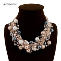 Vintage Chokers Necklaces Women Simulated-pearl Gold Color Choker Necklace Bijoux Femme Statement Necklace Wedding Gift