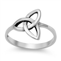 925 Sterling Silver Wicca Triquetra Ultimatum Ring 13MM