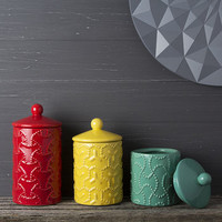 Geometric Design Ceramic Storage Jar