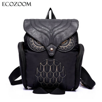 Newest Fashion Women Nylon Owl Backpack Female Cartoon School Bags Mujer Gothic Mochila Escolar Girls Stylish Cool Bagpack Black
