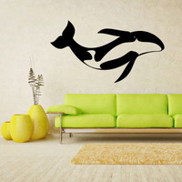 Wall Decal Mural Sticker Sea Ocean orca Dolphin Fish whale Animals Design (z2496)