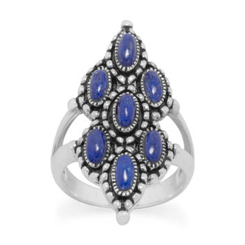 Sterling Silver Ornate 7-Stone Lapis Ring