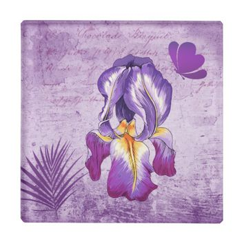 Violet Pastel Purple Iris Flower Glass Coaster