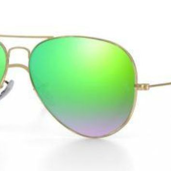 RAY BAN 3025 58 AVIATOR POLISHED GOLD CUSTOMIZED REMIX GREEN MIRROR GRADIENT