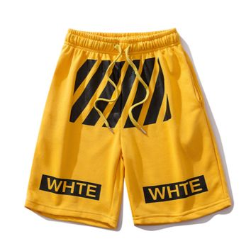 Off White New fashion letter stripe print couple shorts Yellow