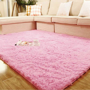 Pink Super Soft  Table Large Doormat Livingroom Rugs Anti-Skid Shaggy Plush Carpet
