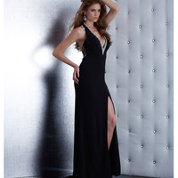 Jasz Couture 5437 Black Plunging Neck Halter Dress 2015 Prom Dresses