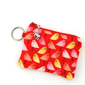 keychain coin purse, zippered id wallet, change pouch, credit card holder, gift card and business card holder – birds on red