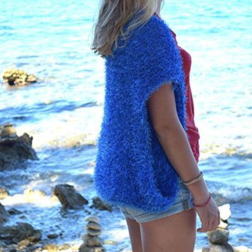 Blue womens bolero Shrug knit summer Wedding shoulders warmer cover up Women shrugs Boho Beach knitwear country loose knit clothing