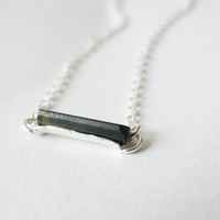 Raw Green Tourmaline Necklace October Birthstone Tourmaline Jewelry Tourmaline Pendant Necklace by SteamyLab