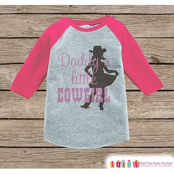Novelty Girl's Outfit - Daddy's Little Cowgirl Pink Raglan Shirt - Pink Baby Girl Onepiece or Tshirt - Novelty Raglan Tee - Fathers Day Gift