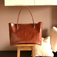 Leather Tote Bag. Brown veg tan Leather. Every day tote. Made in Italy bag.