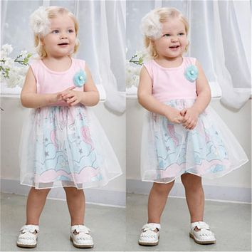 Lovely Kids Sleeveless Dress For Girls  Summer Baby Girl Floral Unicorn Horse Printed Tulle Dresses Pageant Party Dress