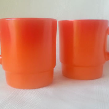 Vintage Anchor Hocking Fire King Stackable Mug Bright Orange