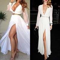 Leshery New White Formal Ball Prom Wedding Brides Maid Maxi Cocktail Long Gown Dress (M)