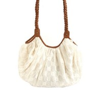 BRAIDED STRAP OVERSIZED CROCHET TOTE BAG