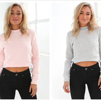 Fleece Hot Sale Winter Split Tops Hoodies [8348554753]
