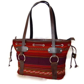 Handmade beautiful Peruvian Manta purse with high quality leather. FREE FAST shipping to USA.