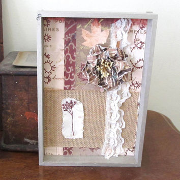 Shadowbox - Shabby Chic Shadowbox - Rustic Detail - Natural Colors - Ivory Lace - Hand Stamped Flower - Burlap and Lace - Brown and Pink