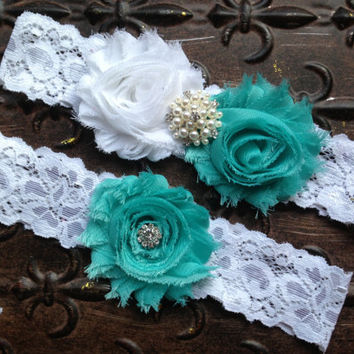 Wedding Garter Set, Turquoise Wedding Garter, Tiffany Blue Garter, Something Blue Wedding Garter, White Turquoise Garter, White Lace Garter