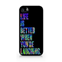 Life Is Better When You're Laughing - Hipster - Colorful - iPhone 5/5S Black Case (C) Andre Gift Shop