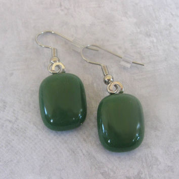 Fused Glass Dangle Earrings Olive Green Earthy Green - jewelry by mysassyglass