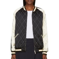 Mcq Alexander Mcqueen White And Black Silk Quilted Bomber