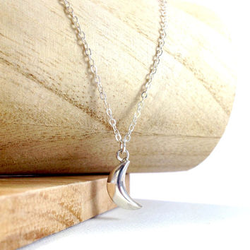 Crescent half moon charm sterling silver necklace - small dainty jewelry - gift for mom, sister, girlfriend, best friends