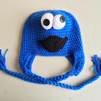 Crochet cookie monster photo prop Hat - Cookie Monster beanie - cookie monster hat - Newborn Cookie Monster hat - photo prop - Earflap hat