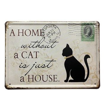 "15x21cm ""A Home without a Cat/Dog is Just a House"" Vintage Shabby Pub Sign Tin Plaque Coffee Shop Bar Decor"