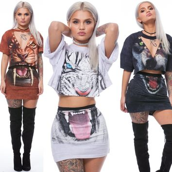 2017 Summer 3D Printed Tiger Panther Two Piece Set Dress Women Short Sleeve Cropped T Shirt Tops and Skirt 2 Piece Outfits