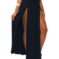 Women High Waist Open Double Slit Two Side Split Stretch Mid-Calf Long Maxi Skirt Bodycon 4 Colors Free Shipping U2